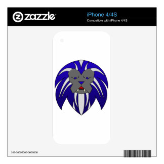 Blue Lion Skins For The iPhone 4