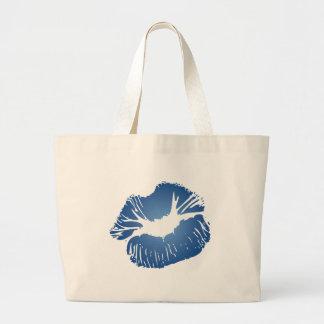 Blue Lips Large Tote Bag