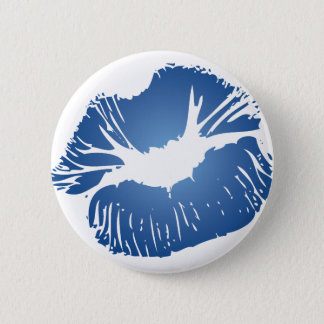 Blue Lips Pinback Button