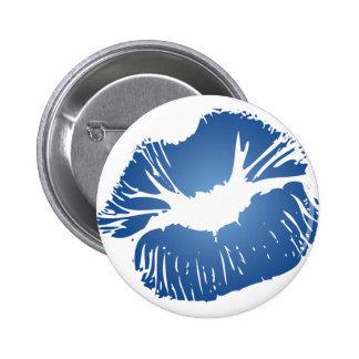 Blue Lips Pinback Button
