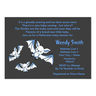 Blue Little Bat Baby Shower Invitation Cards