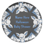 Blue Little Bat Baby Shower Plates