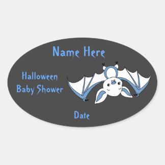 Blue Little Bat Baby Shower Stickers