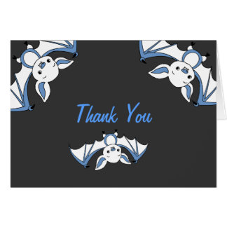 Blue Little Bat Baby Shower Thank You Notes Stationery Note Card