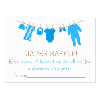 Blue Little Clothes Diaper Raffle Tickets Large Business Cards (Pack Of 100)