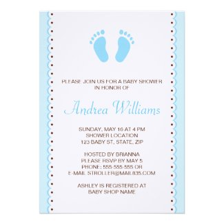 Blue little feet boys baby shower invitation