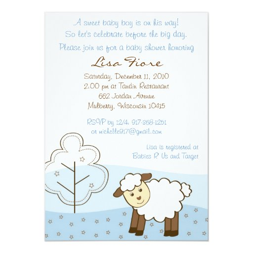 Blue Little Lamb Baby Shower Invitations | Zazzle