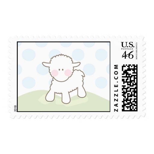 Blue Little Lamb Baby Shower Stamp