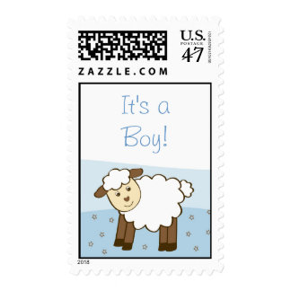 Blue Little Lamb Personalized Postage Stamps