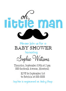 Blue Little Man Mustache Baby Shower Invitation