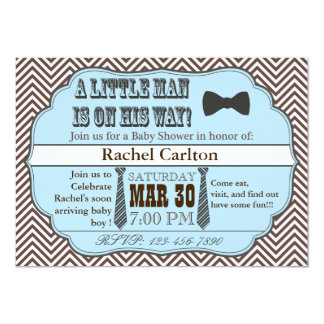 "Blue Little Man Ties Baby Shower Invitations 5"" X 7"" Invitation Card"