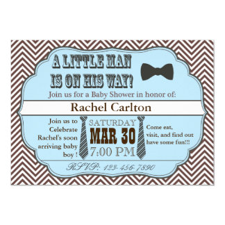 Blue Little Man Ties Baby Shower Invitations