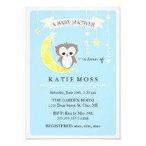 Blue Little Owl | Baby Shower Invitation