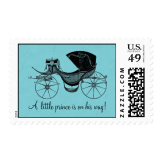 Blue Little Prince Carriage Baby Shower Postage
