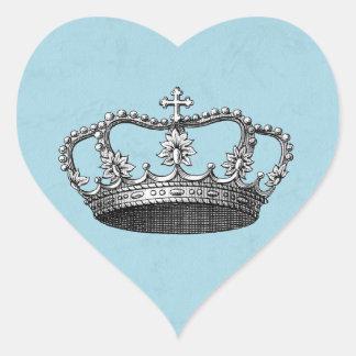 Blue Little Prince Crown Baby Shower Favors Heart Sticker
