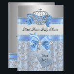 """Blue Little Prince Crown Baby Shower Invitation<br><div class=""""desc"""">Boy Baby Shower. Elegant diamond crown &amp; cute blue bows. Blue &amp; Silver. &quot;It&#39;s a Boy&quot; Please Note all flat images: They do not have real bows or jewels!</div>"""