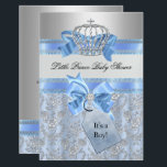 "Blue Little Prince Crown Baby Shower Invitation<br><div class=""desc"">Boy Baby Shower. Elegant diamond crown &amp; cute blue bows. Blue &amp; Silver. &quot;It&#39;s a Boy&quot; Please Note all flat images: They do not have real bows or jewels!</div>"