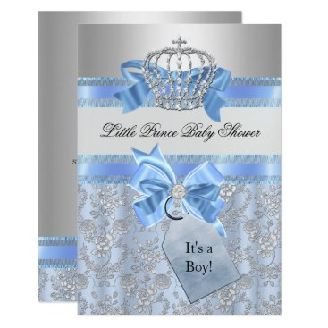 Toddler & Baby themed Blue Little Prince Crown Baby Shower Invitation