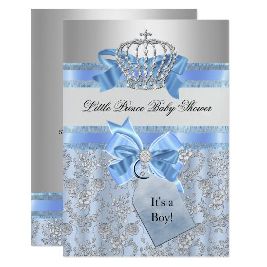 Blue Little Prince Crown Baby Shower Invitation Zazzlecom