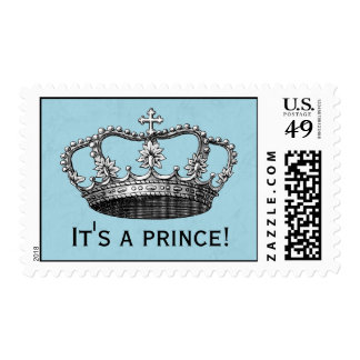 Blue Little Prince Crown Baby Shower Postage