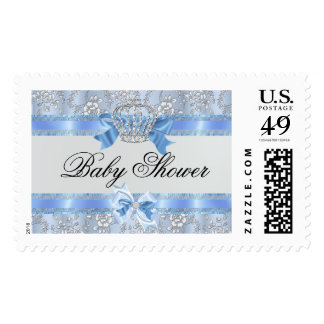 Blue Little Prince Crown Baby Shower Stamp