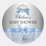 Blue Little Prince Crown Baby Shower Sticker Round Sticker