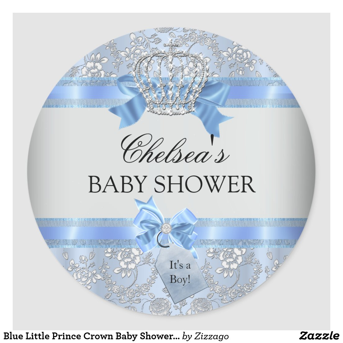 ... Blue Little Prince Crown Baby Shower Sticker
