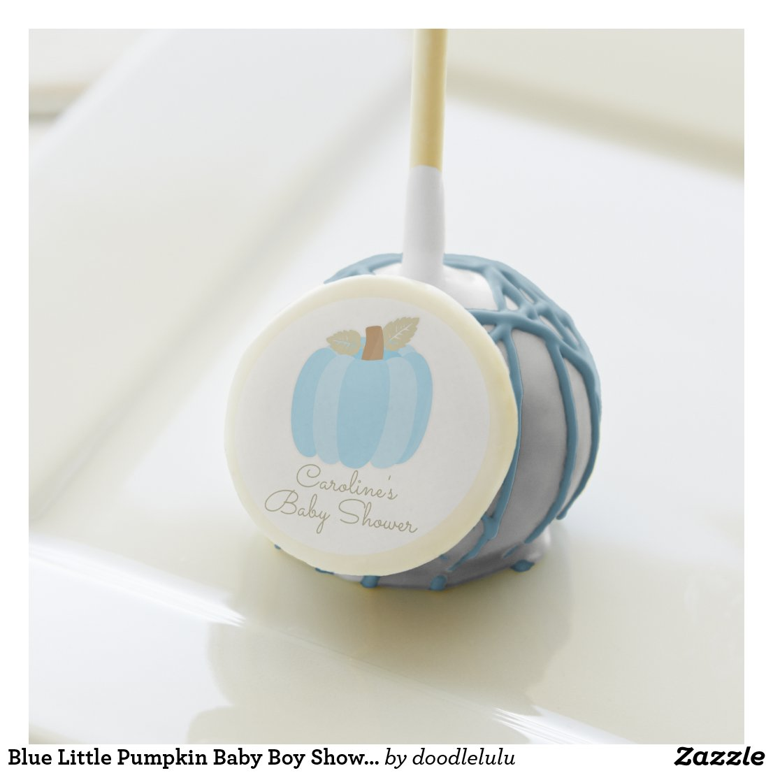 Blue Little Pumpkin Baby Boy Shower Cake Pops