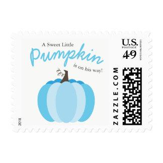 Blue Little Pumpkin Fall Boy Baby Shower Stamps
