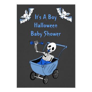 Blue Little Skeleton Baby Shower Invitation Cards