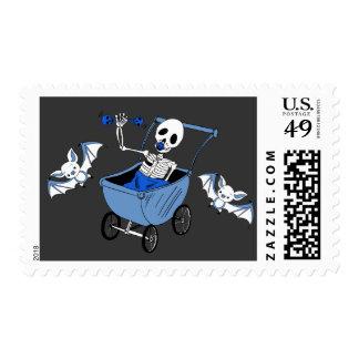 Blue Little Skeleton Baby Shower Postal Stamps