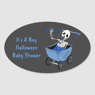 Blue Little Skeleton Baby Shower Stickers