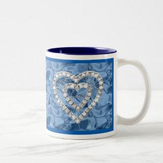 Blue Live Laugh Love Diamond Heart Mug