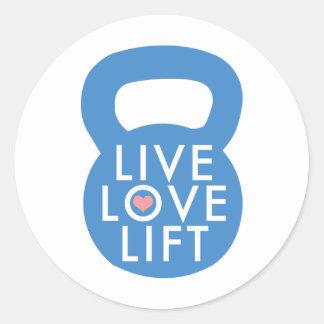 "Blue ""Live Love Lift!"" Classic Round Sticker"