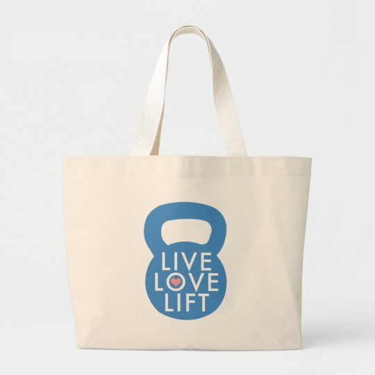 "Blue ""Live Love Lift!"" Large Tote Bag"