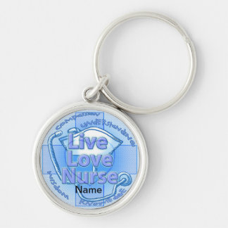 Blue Live Love Nurse Premium Round Keychain