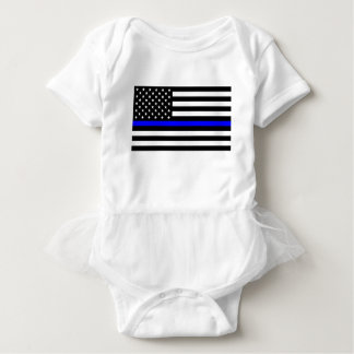 Blue Lives Matter - US Flag Police Thin Blue Line Baby Bodysuit