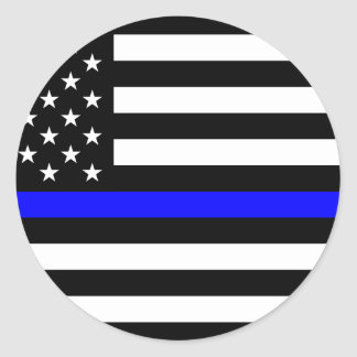 Blue Lives Matter - US Flag Police Thin Blue Line Classic Round Sticker