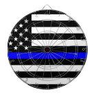 Blue Lives Matter - US Flag Police Thin Blue Line Dartboard With Darts