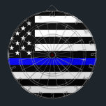 "Blue Lives Matter - US Flag Police Thin Blue Line Dartboard With Darts<br><div class=""desc"">Blue Lives Matter - US - Police Thin Blue Line American Flag.american, blue lives matter, blue thin line, flag, law, officer, police, police lives matter, policeman, policewoman, state</div>"