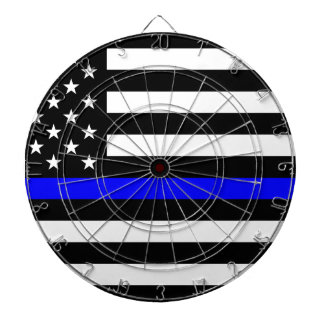Blue Lives Matter - US Flag Police Thin Blue Line Dartboard With Darts