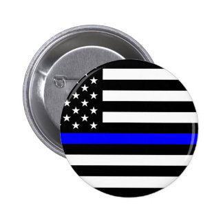 Blue Lives Matter - US Flag Police Thin Blue Line Pinback Button