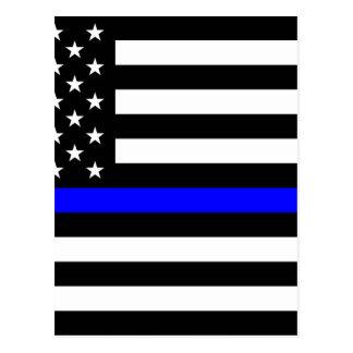 Blue Lives Matter - US Flag Police Thin Blue Line Postcard