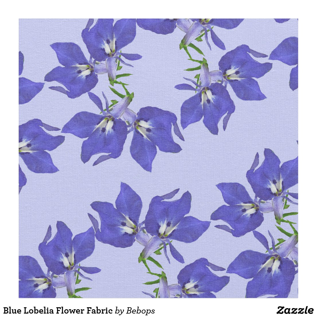 Blue Lobelia Flower Fabric