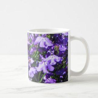 blue lobelia on a mug