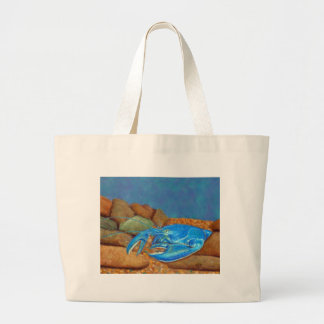 Blue Lobster Among The Rocks Large Tote Bag