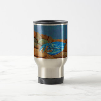 Blue Lobster Among The Rocks Travel Mug