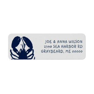 Blue Lobster Gray Return Address Labels