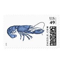 Blue Lobster Stamps with Retro Vintage Image