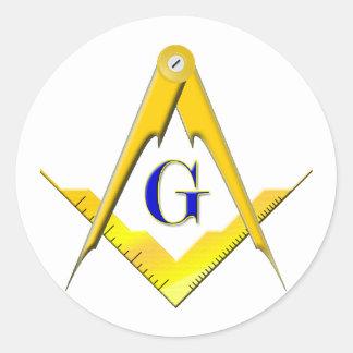 Blue Lodge Square & Compasses Classic Round Sticker